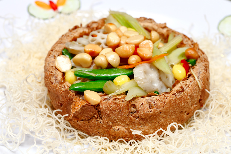 Yam Basket with Lotus Roots and Macadamia Nuts