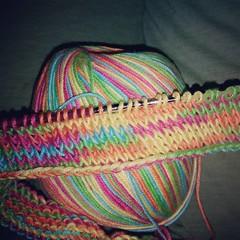 #knitted #rainbow cowl. Tried #knitting again, much easier this go around!!! #yarn #handmade #handmadeknits #handmadeknit #raimbows #kawaii