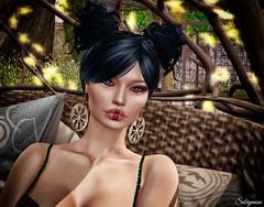 Sabrymoon wearing :::Suki::: The Vegvisir Earrings Copper and Fabia Mesh Hair Boni @ InspirationSL