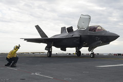 An F-35B Lightning II aircraft launches for the first time off the flight deck of USS America (LHA 6), Oct. 28. (U.S. Navy/P02 Benjamin Wooddy)