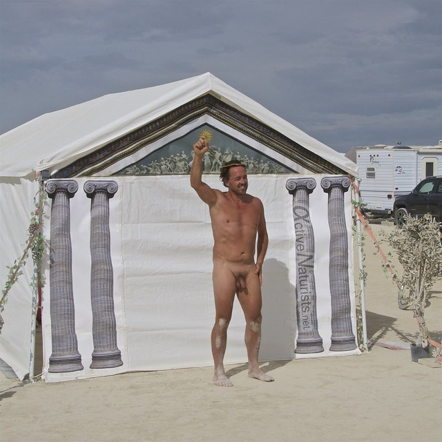 naturist wrestling camp Gymnasium 0042 Burning Man, Black Rock City, NV, USA