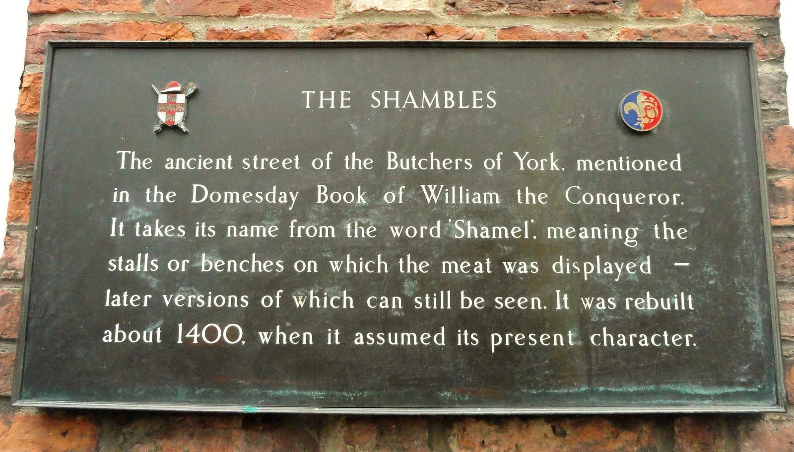 The Shambles, Heritage Plaque, York. Credit Peter Hughes