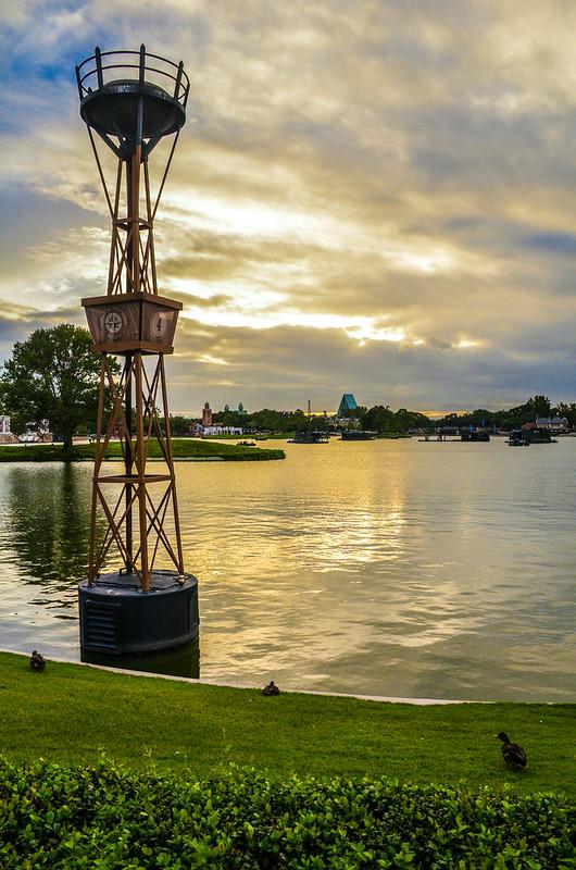 Epcot World Showcase light sunset