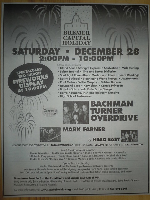 12/28/02 BTO/ Head East/ Mark Farner @ Roy Wilkins Auditorium, St. Paul, MN