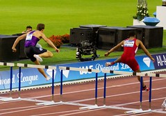 middle-distance running(0.0), sprint(0.0), modern pentathlon(0.0), high jump(0.0), 800 metres(0.0), physical exercise(0.0), steeplechase(1.0), athletics(1.0), track and field athletics(1.0), 110 metres hurdles(1.0), championship(1.0), obstacle race(1.0), 100 metres hurdles(1.0), sports(1.0), running(1.0), recreation(1.0), outdoor recreation(1.0), hurdle(1.0), heptathlon(1.0), person(1.0), hurdling(1.0), athlete(1.0),