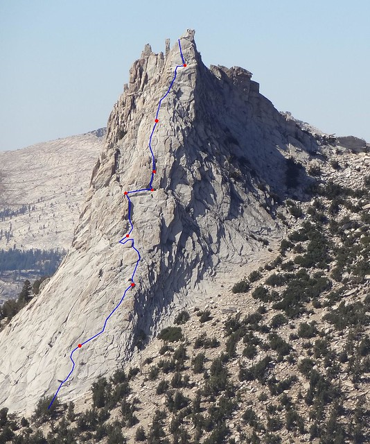 My route on Cathedral Peak