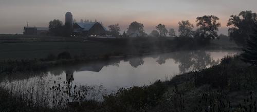 panorama ontario canada fog sunrise landscape farm gimp conestogo waterlooregion woolwichtownship microsoftice oloneo samyang35mmf14 olympusomdem5
