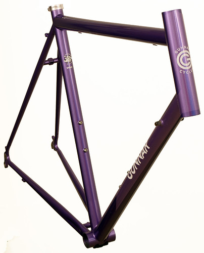 <p>Front view of Gunnar Sport in Starlight Purple.  The Sport makes a most comfortable road bike with medium wheelbase, relatively upright fit and capacity for bigger tires.</p>