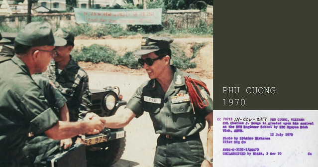 PHÚ CƯỜNG 1970 - COL Charles J. Benge is greeted upon his arrival at the RVN Engineer School by LTC Nguyen Dinh Vinh, ARVN