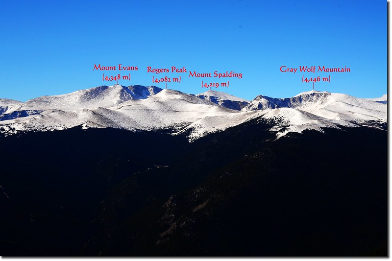 Overlooking southwest onto Mount Evans Massif from the summit of Chief Mountain 2-1