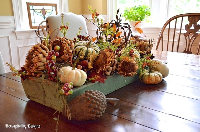 Fall centerpiece in vintage tool caddy - Housepitality Designs