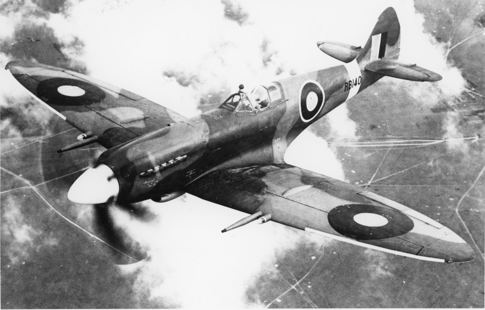 Supermarine Spitfire Mk XIVe, RB140. The first Spitfire Mark XIVe, RB140, on a test flight after undergoing Griffon Engine modifications ('GEMS') at the De Havilland factory, Hatfield, Hertfordshire, following operational evaluation with No. 616 Squadron