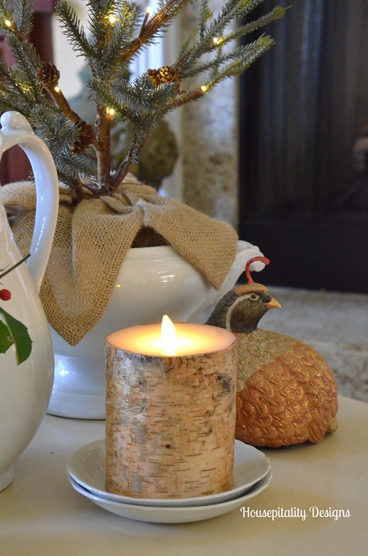 Winter vignette with Luminara Birch Candle - Housepitality Designs