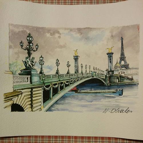 Souvenir from Paris. ✨ #painting #pontalexandreiii #toureiffel #paris #parislove #parisjetaime