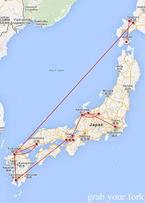 Our travel map around Japan from Tokyo to Hakodate