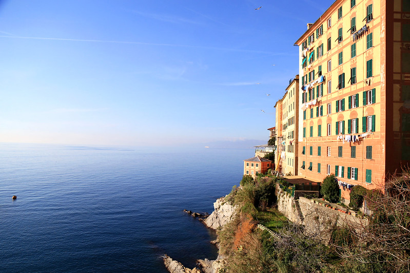 camogli building with sea view