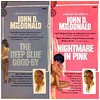 Book consumption: rereading  Travis McGee (and subjecting L to its 1960s sexist Florida noir...finished The Deep Blue Good-by...Nightmare in Pink in progress...we're reading it on kindle...but these are covers I grew up with...