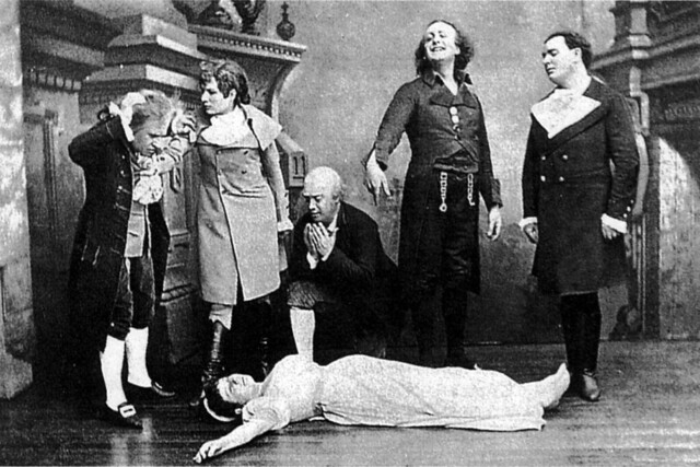The death of Antonia from the end of Act III from the world premiere of Jacques Offenbach's Les Contes d'Hoffmann in the Opéra-Comique, Paris, 1881