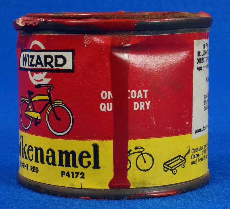 RD14755 Vintage Wizard Bikenamel Bright Red P4172 Bicycle Paint Quarter Pint DSC06306