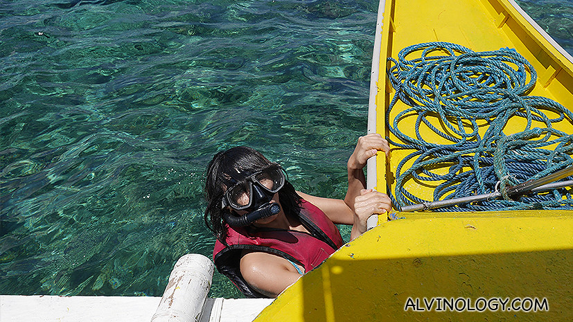 Rachel going snorkeling in the open sea