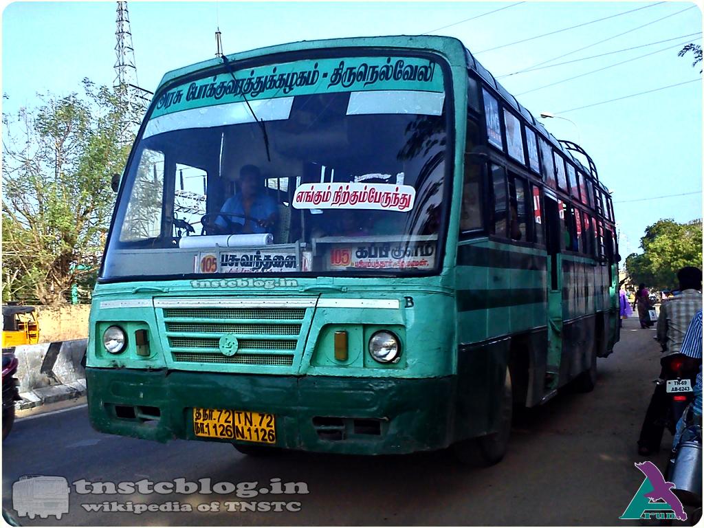 TN-72N-1126 of Thoothukudi City Depot Route 105 Thoothukudi - Kappikulam via Puthiyamputhur, Ottapidaram, Keelamudiman, Pasuvanthanai.
