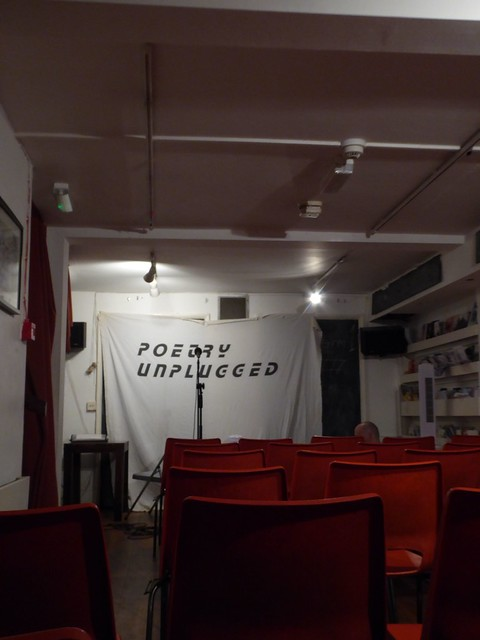 London - Poetry Unplugged's open mic night tiny basement room