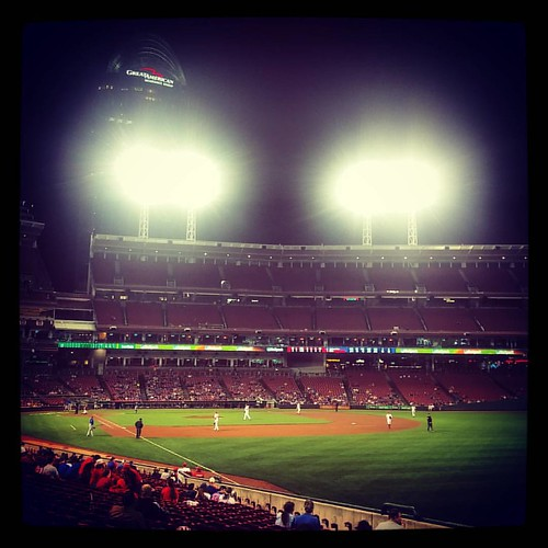 A very rain-delayed #Reds baseball game number 45 of the season with @genmae5 at #GABP.