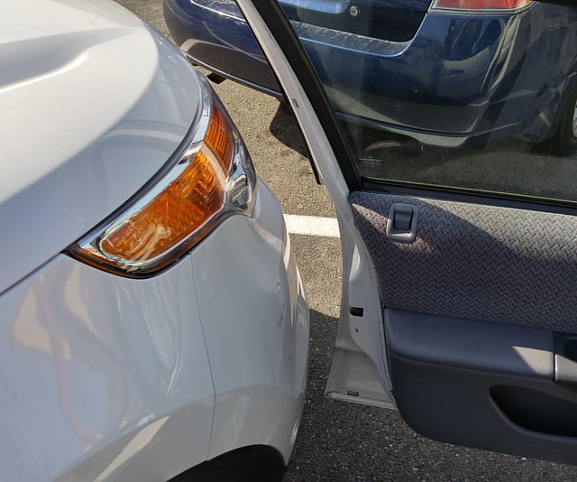 My door and the front of the car in the next space. So intensely satisfying.