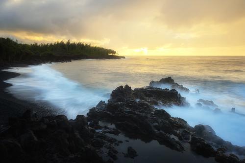ocean storm black beach pool sunrise naked nude kalapana lava coast sand rocks waves pacific tide shoreline rocky coastal pahoa tides puna kehena kapoho redroad