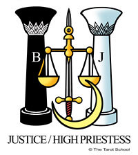 Justice/High Priestess - The Tarot School