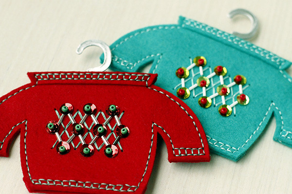 Beaded Motifs from Beaded Holiday Stitch Kit on Softie Sweater Dies