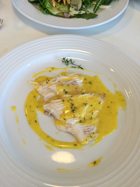 Plate of Ray Wing with Thyme Hollandaise -- The spoon got away from me while I doused with sauce.