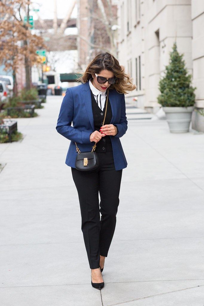 The corporate catwalk blue blazer citizen's mark best blazer to wear to work work wear black trousers from j.crew banana republic blouse work outfits work looks j.crew cardigan chloe drew nano manolo blahnik corporate fashion blogger swarovski sunglasses new york city fashion blogger