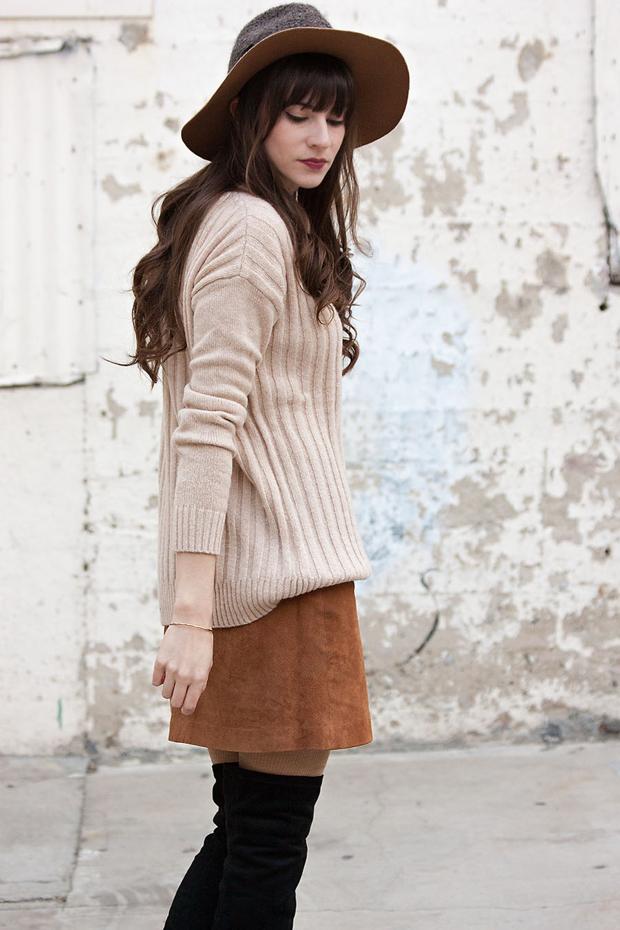 Asos Suede Skirt, Oversized Sweater
