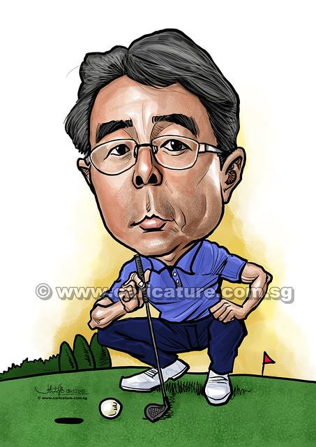 Golfer digital caricature for Mastercard