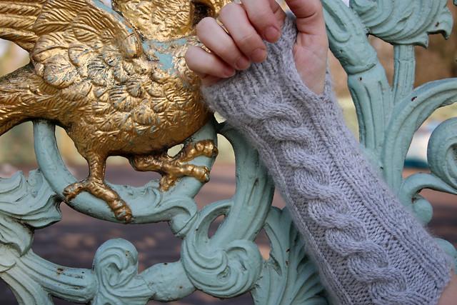 TOFT Cable Wristwarmers in Silver DK Wool