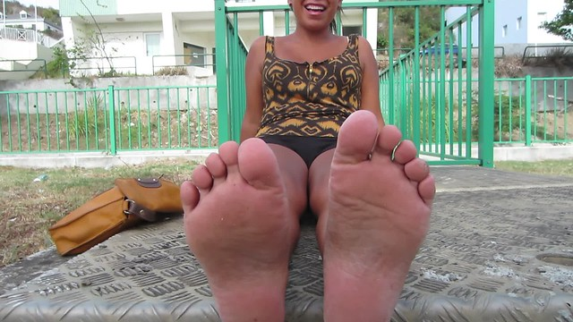 Happy asian girl with wide and small soles size 6