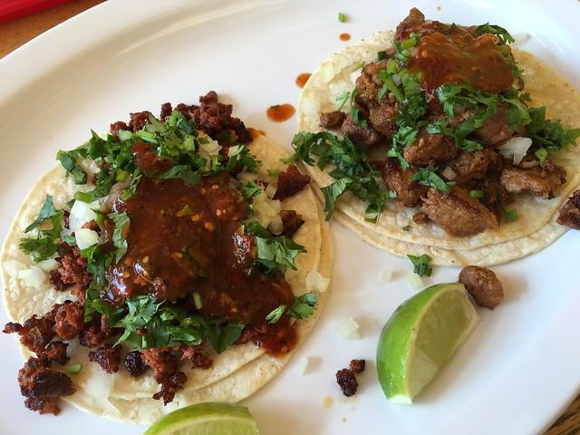 Al pastor & chorizo tacos - La Fonda