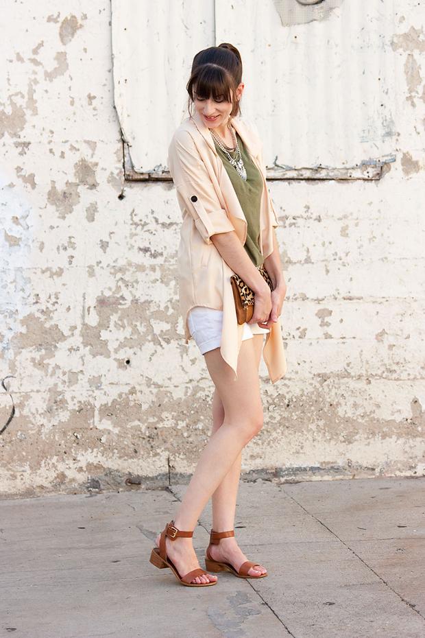 Lookbook Store, Peach Jacket, Army Green Tee, Leopard Clutch, White Shorts