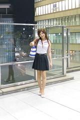 Sleeveless top and Navy miniskirt_4