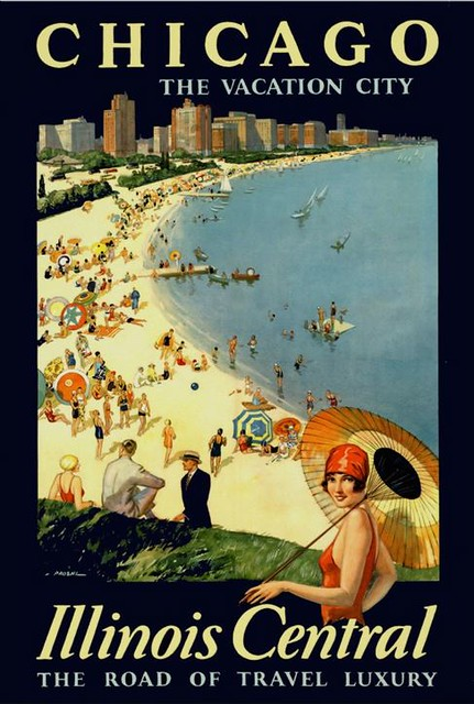 Chicago, the Vacation City ~ Illinois Central ~ Vintage Train Travel Poster