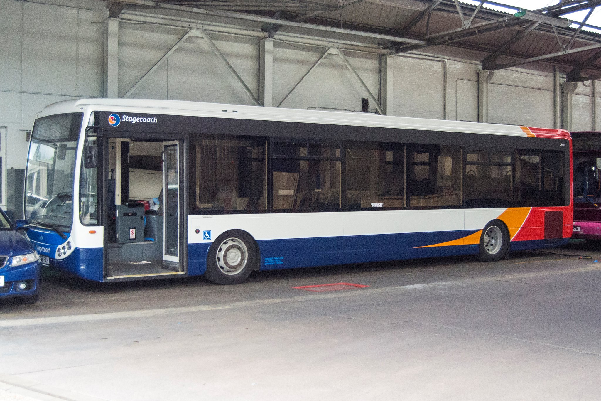 Optare Tempo 25130 YN58FXH stands inside Bedford depot after emerging from the Paint Shop