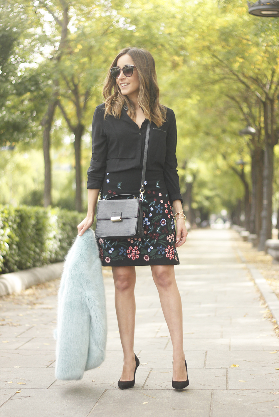 black skirt with flowers outfit18