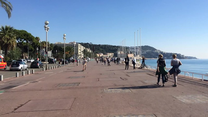 Walking down Promenade des Anglais.
