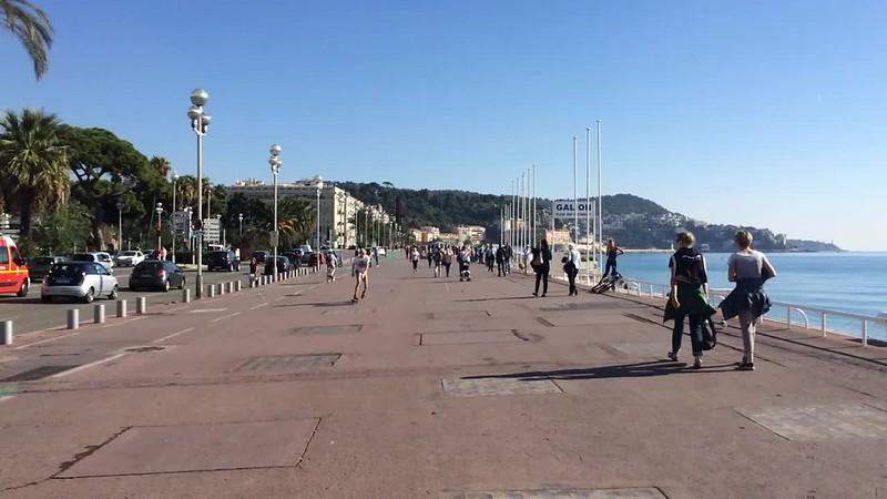Walking down Promenade des Anglais.