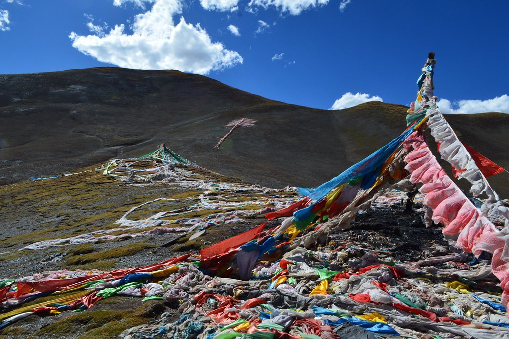Tibetan flags in the mountains