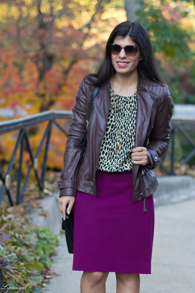 purple pencil skirt, leopard blouse, leather jacket-4.jpg