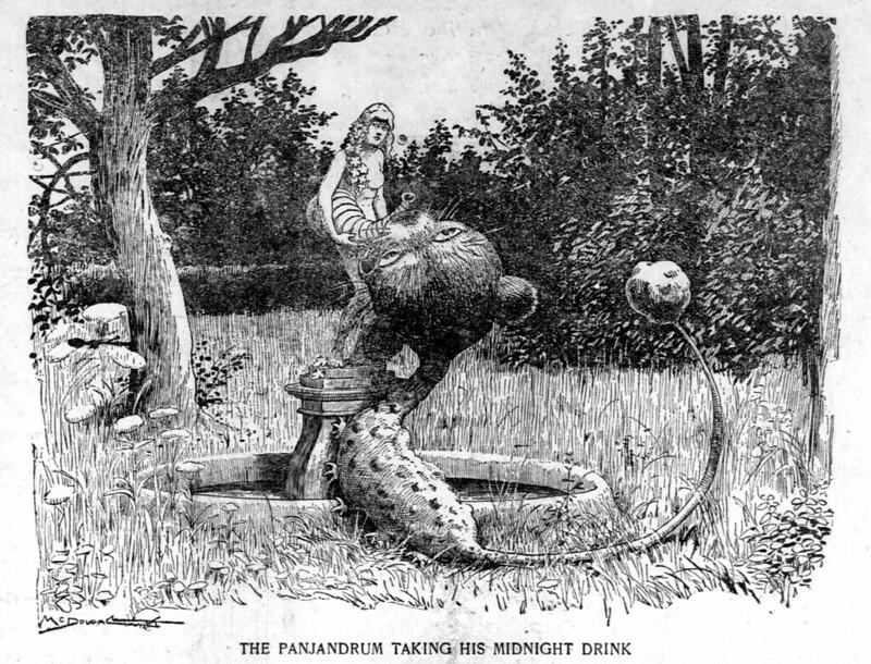Walt McDougall - The Salt Lake herald., November 02, 1902, The Panjandrum Taking His Midnight Drink