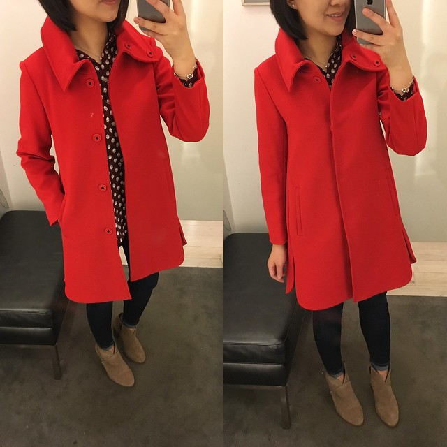 Ann Taylor Red Statement Coat, size XXS regular