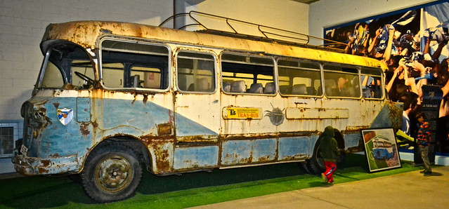 old tour bus - La Rosaleda Malaga FC Stadium Tour